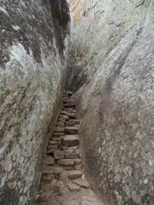 Steps are built between rocks