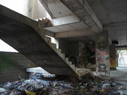 Graffiti, debris, glass everywhere